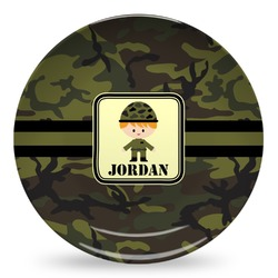 Green Camo Microwave Safe Plastic Plate - Composite Polymer (Personalized)