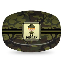 Green Camo Plastic Platter - Microwave & Oven Safe Composite Polymer (Personalized)