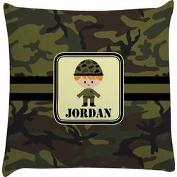 Green Camo Decorative Pillow Case (Personalized)