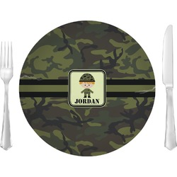 "Green Camo Glass Lunch / Dinner Plates 10"" - Single or Set (Personalized)"
