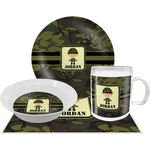 Green Camo Dinner Set - 4 Pc (Personalized)