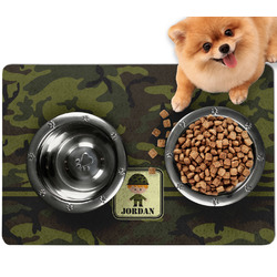 Green Camo Dog Food Mat - Small w/ Name or Text