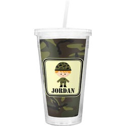 Green Camo Double Wall Tumbler with Straw (Personalized)