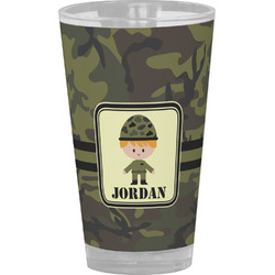 Green Camo Drinking / Pint Glass (Personalized)