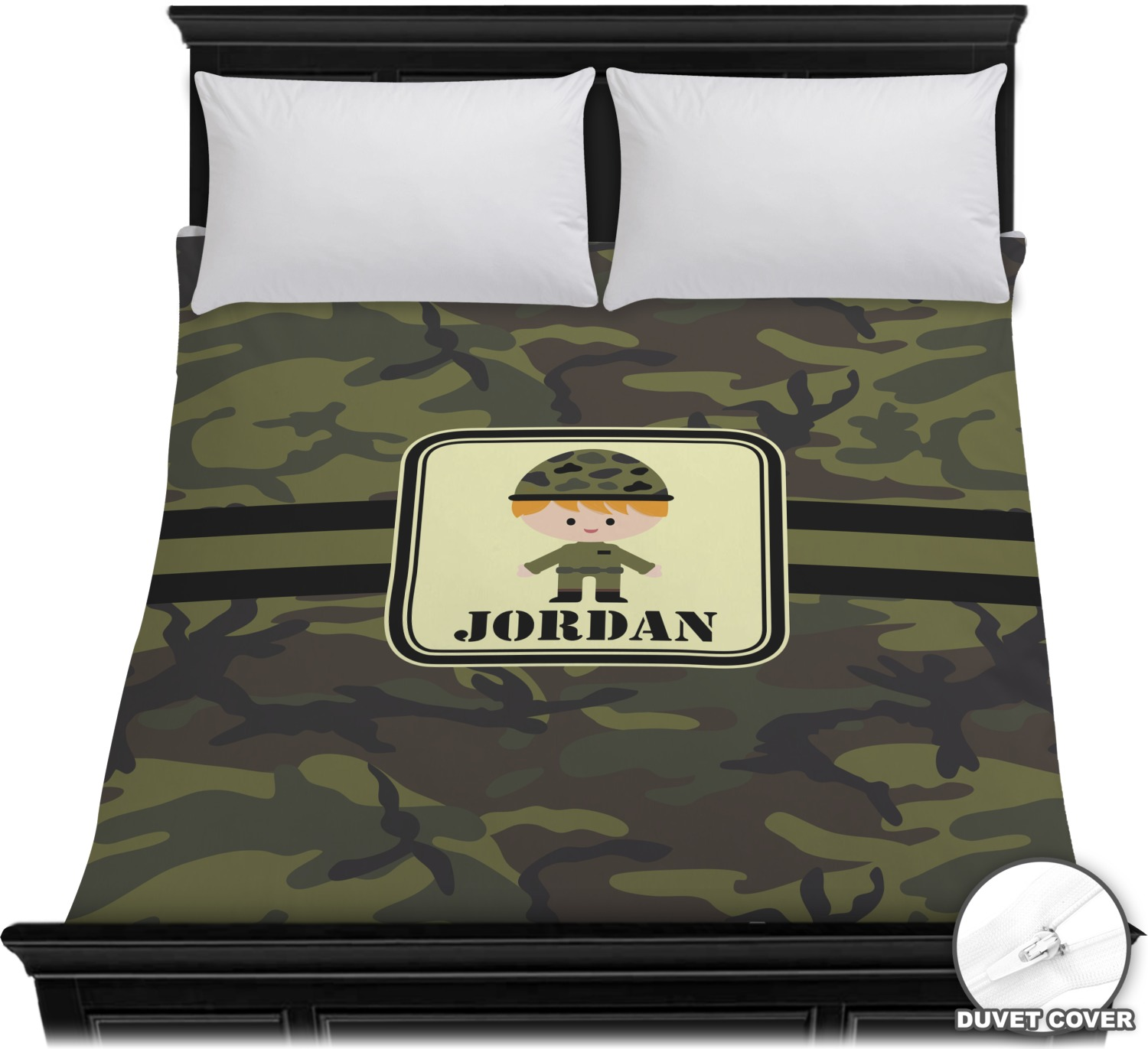 green camo duvet cover full queen personalized youcustomizeit. Black Bedroom Furniture Sets. Home Design Ideas