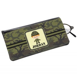 Green Camo Genuine Leather Eyeglass Case (Personalized)