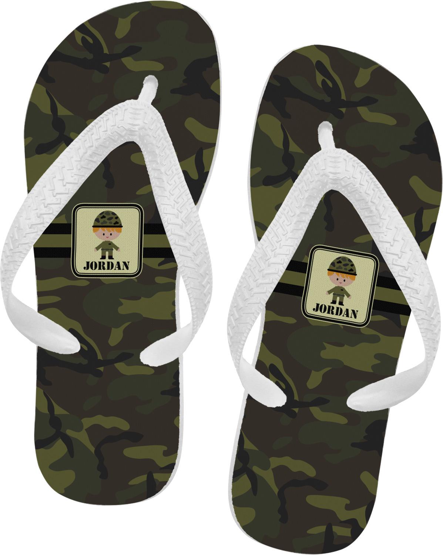 0e969397ee4946 Green Camo Flip Flops (Personalized) - YouCustomizeIt