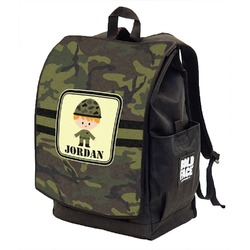 Green Camo Backpack w/ Front Flap  (Personalized)