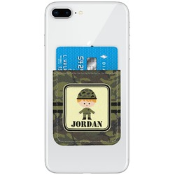 Green Camo Genuine Leather Adhesive Phone Wallet (Personalized)