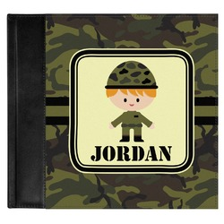 Green Camo Genuine Leather Baby Memory Book (Personalized)