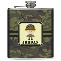 Green Camo Genuine Leather Flask (Personalized)