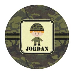 Green Camo Round Desk Weight - Genuine Leather  (Personalized)