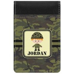 Green Camo Genuine Leather Small Memo Pad (Personalized)
