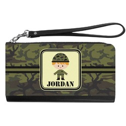 Green Camo Genuine Leather Smartphone Wrist Wallet (Personalized)