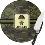 Green Camo Round Glass Cutting Board (Personalized)