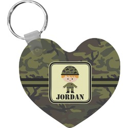 Green Camo Heart Keychain (Personalized)