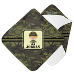 Green Camo Hooded Baby Towel (Personalized)