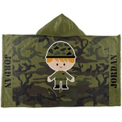 Green Camo Kids Hooded Towel (Personalized)