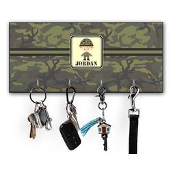 Green Camo Key Hanger w/ 4 Hooks (Personalized)
