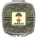 Green Camo Compact Makeup Mirror (Personalized)