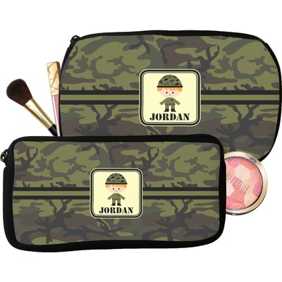 Green Camo Makeup / Cosmetic Bag (Personalized)