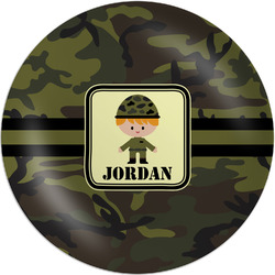 "Green Camo Melamine Plate - 8"" (Personalized)"