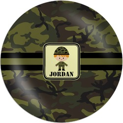 Green Camo Melamine Plate (Personalized)