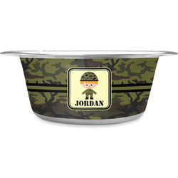 Green Camo Stainless Steel Pet Bowl (Personalized)