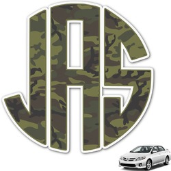 Green Camo Monogram Car Decal (Personalized)