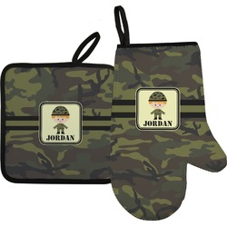 Green Camo Right Oven Mitt & Pot Holder Set w/ Name or Text