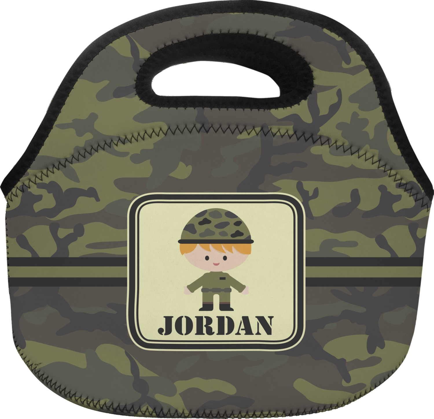 Green Camo Lunch Bag Personalized
