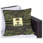 Green Camo Outdoor Pillow (Personalized)