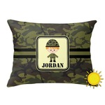 Green Camo Outdoor Throw Pillow (Rectangular) (Personalized)