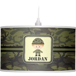 Green Camo Drum Pendant Lamp (Personalized)
