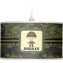 Green Camo Drum Pendant Lamp (Personalized)