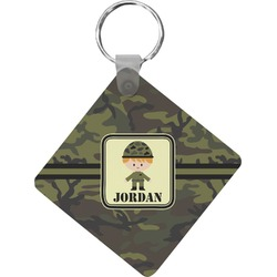 Green Camo Diamond Key Chain (Personalized)