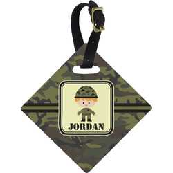 Green Camo Diamond Luggage Tag (Personalized)
