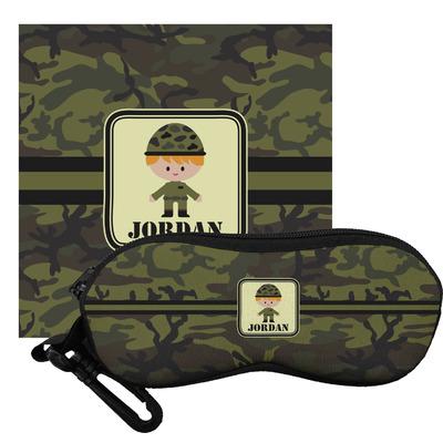 Green Camo Eyeglass Case & Cloth (Personalized)