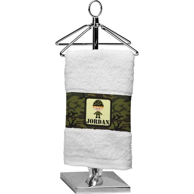 Green Camo Finger Tip Towel (Personalized)