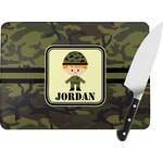 Green Camo Rectangular Glass Cutting Board (Personalized)