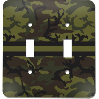 Green Camo Light Switch Cover (2 Toggle Plate) (Personalized)