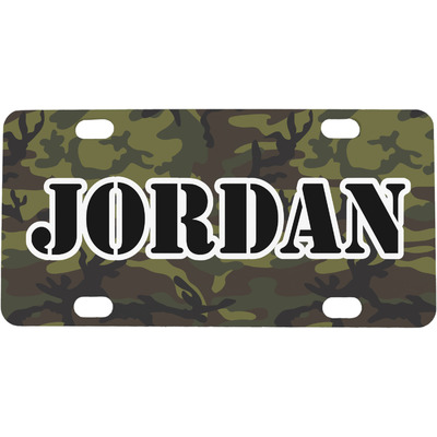 Green Camo Mini / Bicycle License Plate (4 Holes) (Personalized)