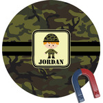 Green Camo Round Magnet (Personalized)