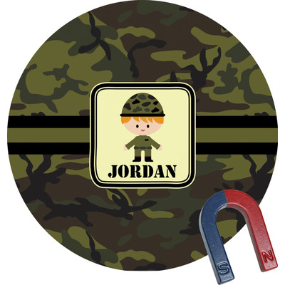 Green Camo Round Fridge Magnet (Personalized)