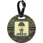 Green Camo Round Luggage Tag (Personalized)