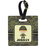 Green Camo Square Luggage Tag (Personalized)