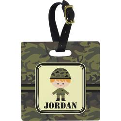Green Camo Square Luggage Tag (Personalized)