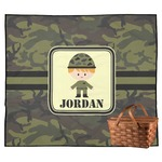 Green Camo Outdoor Picnic Blanket (Personalized)
