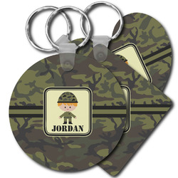 Green Camo Plastic Keychains (Personalized)