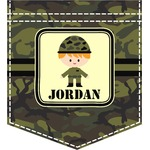 Green Camo Iron On Faux Pocket (Personalized)